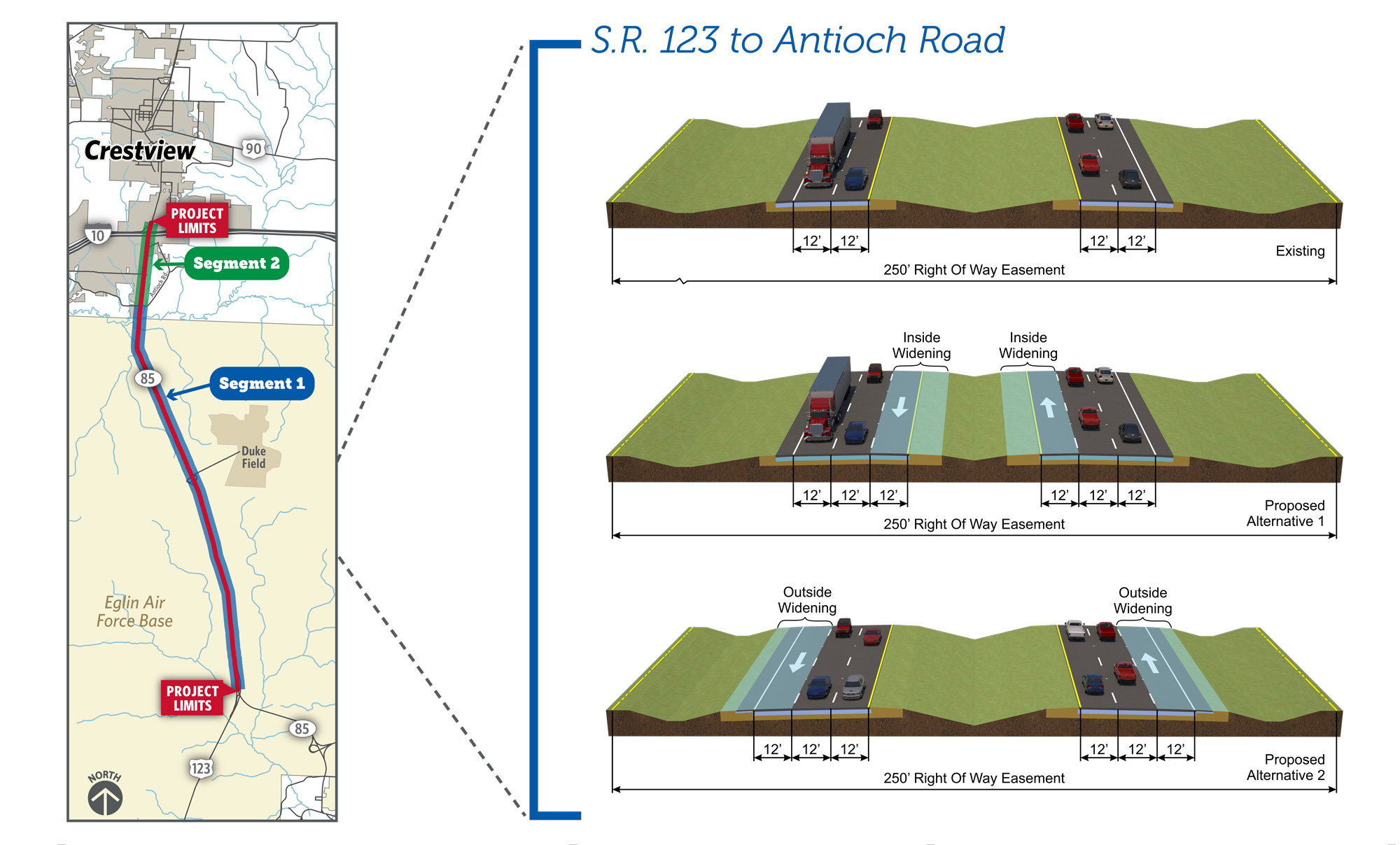 SR 123 to Antioch Rd: add another 12-foot lane to each direction of traffic on either the inside lanes of the highway or the outside lanes.
